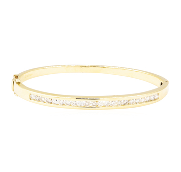 14K Yellow Gold 19.00 Grams Diamond Bangle