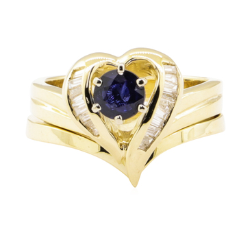 14K Yellow Gold 8.00 Grams Diamond Ring w/ Sapphire Center Stone