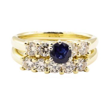 14K Yellow Gold 7.70 Grams Diamond Ring Set w/ Sapphire Center Stone