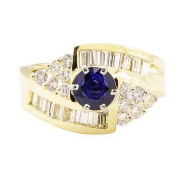14K Yellow Gold 9.00 Grams Diamond Ring w/ Sapphire Center Stone