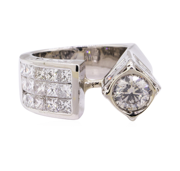 Platinum 29.20 Grams 5.77 Carats t.w. Princess and Round Diamond European Shank Ring