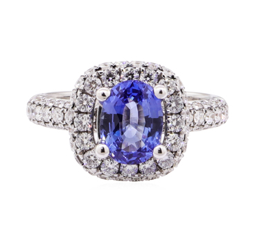 18K White Gold 4.40 Grams Halo Style Diamond Ring With Natural Blue Sapphire Center Stone