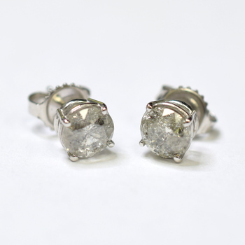 14K White Gold 1.50 Grams 1.63 Carats Round Diamond Stud Earrings