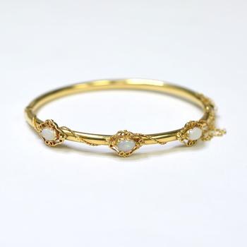 14K Yellow Gold 7.30 Grams Opal Bangle Bracelet
