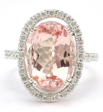 18K White Gold 7.00 Grams Diamond Halo Style Ring With 7.16 Carats Natural Morganite Center Stone