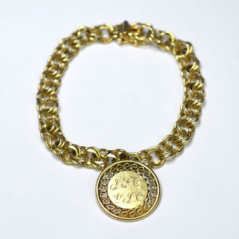 "14K Yellow Gold 15.00 Grams Link Chain Bracelet With Circle ""25"" Charm"