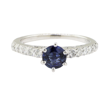 14K White Gold 2.40 Grams 0.40 Carat t.w. Diamond Ring with Sapphire Center