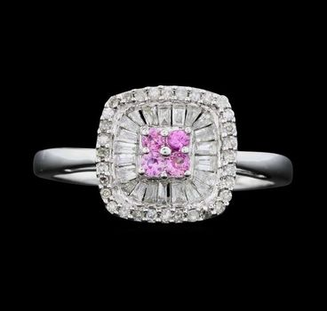 14K White Gold Round and Baguette Cut Diamond & Round Cut Pink Sapphire Cushion Halo Flower Ring