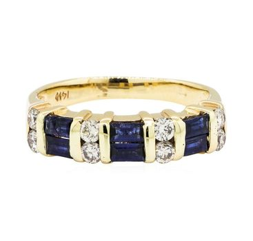 14K Yellow Gold 3.72 Grams Sapphire and Diamond Lady's Ring
