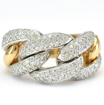18K Two Tone Gold 18.60 Grams 1.25 Carats t.w. Diamond Pave Set Chain Link Style Ring