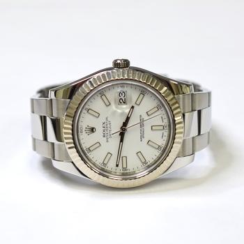 Rolex DateJust II 41mm Stainless Steel Golden Bezel Mens Watch 116334