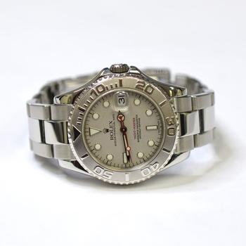 Rolex Yacht Master 35mm Stainless Steel Platinum Bezel Watch 168622