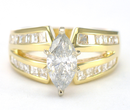 14K Yellow Gold 8.60 Grams 2.17 Carats t.w. Marquise and Princess Cut Diamond Lady's Ring