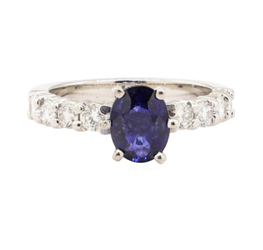 14K White Gold 4.70 Grams Diamond Ring w/ Sapphire Center Stone