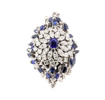 14K White Gold 28.00 Grams Diamond & Sapphire Ring w/ Sapphire Center Stone