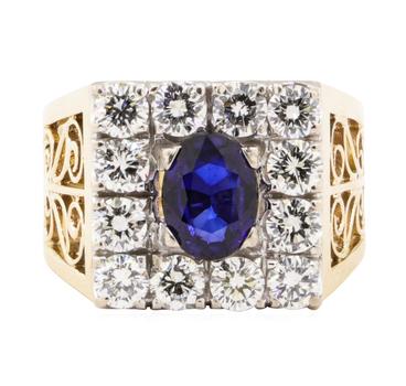 18K Two Tone Gold 7.60 Grams Diamond Ring w/ Sapphire Center Stone