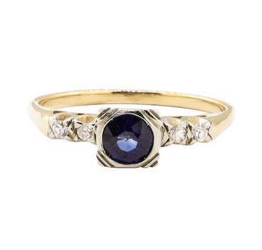 14K Yellow Gold 2.22 Grams Diamond Ring w/ Sapphire Center Stone