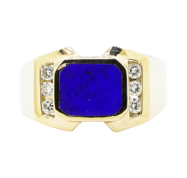 14K Yellow Gold 9.90 Grams Diamond Men's ring w/ Lapis Lazuli Center Stone