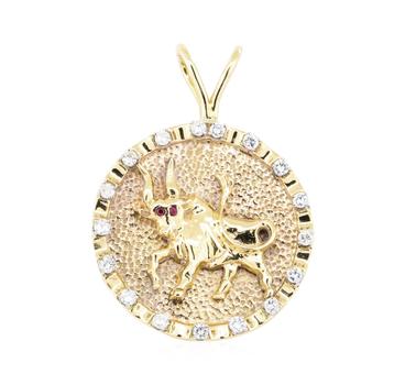 14K Yellow Gold 17.40 Grams Diamond Taurus Pendant w/ Ruby Accent Stones
