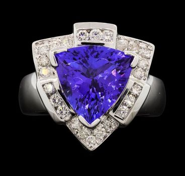 14K White Gold Round Diamond Ring With Triangle Cut Tanzanite Center