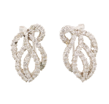 18K White Gold 6.40 Grams 1.20 Carats t.w. Round Diamond Lever Back Earrings