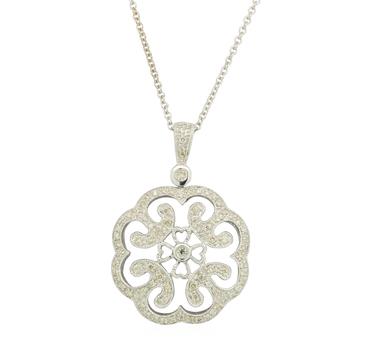 14K White Gold 9.10 Grams Diamond Lady's Cocktail Necklace