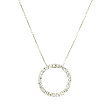 14K White Gold 3.10 Grams 1.10 Carats t.w. Round Diamond Circle Pendant Necklace