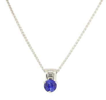 Platinum 6.80 Grams Sapphire and Diamond Pendant Necklace