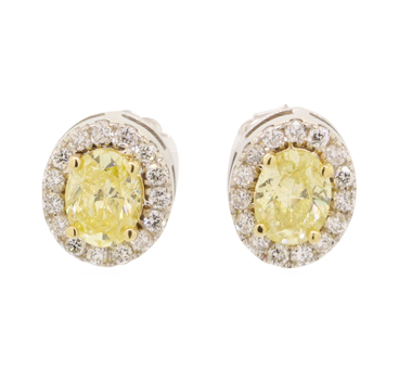 14K White Gold 3.60 Grams 1.40 Carats t.w. Halo Style Diamond Earrings