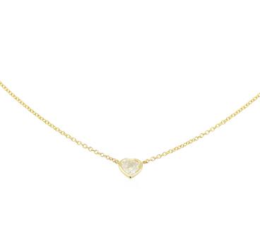 14K Yellow Gold 2.15 Grams 0.35 Carat t.w. Heart Shape Diamond Necklace