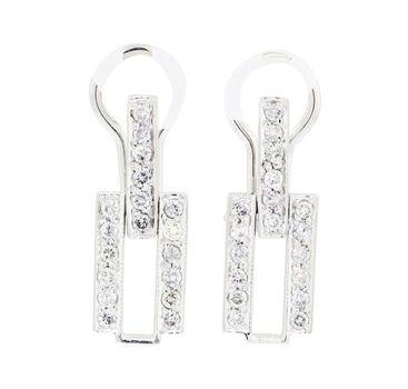 14K White Gold 5.55 Grams Diamond Link Style Earrings