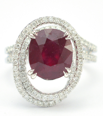 18K White Gold 8.90 Grams Overlap Design Halo Style Ring With 3.89 Carats Natural Ruby Center Stone