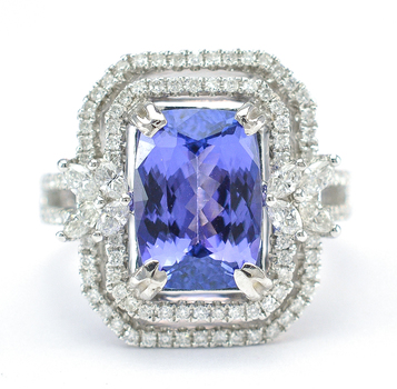 18K White Gold 12.20 Grams Double Halo Style Diamond Ring With Natural Tanzanite Center Stone