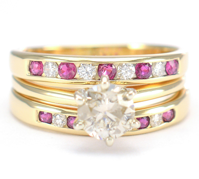 14K Yellow Gold 6.90 Grams Ruby and Diamond Lady's Ring