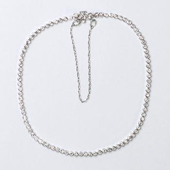 18K White Gold 5.65 Grams 1.00 Carat t.w. Round Diamond Tennis Bracelet