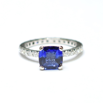 14K White Gold 3.50 Grams Eternity Style Ring With Sapphire Center Stone