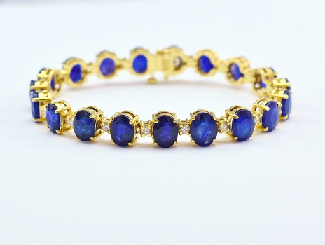 14K Yellow Gold 22.55 Grams Natural Dyed Corundums and Diamond Tennis Bracelet