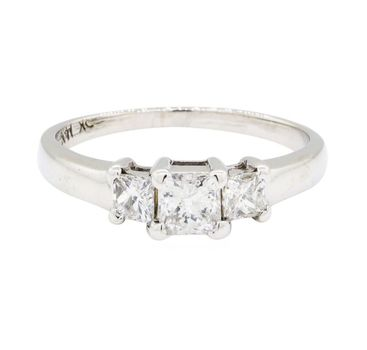 14K White Gold 2.47 Grams Princess Cut Diamond Three Stone Style Ring