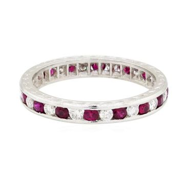14K White Gold 3.07 Grams Red Sapphire and Diamond Ring