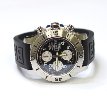 Breitling SuperOcean 44mm Stainless Steel Mens Watch on Rubber Strap A13341