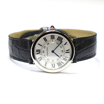 Cartier Ronde Solo 36mm Stainless Steel Mens Watch on Leather Strap 2934