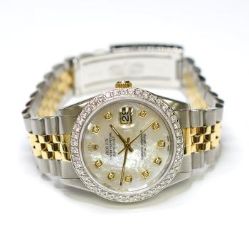 Rolex DateJust 36mm Stainless Steel and 18K Gold Custom Diamonds MOP Watch 16233