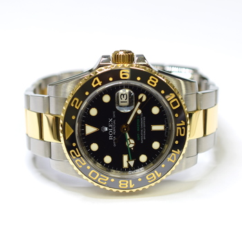 Rolex GMT Master II 40mm Stainless Steel and 18K Gold Mens Watch 116713