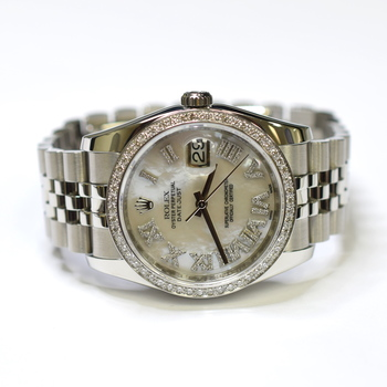 Rolex DateJust 36mm Stainless Steel Custom Diamonds Mother of Pearl Watch 116234