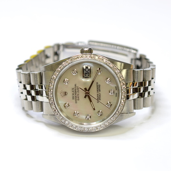 Rolex DateJust 36mm Stainless Steel Custom Diamonds Mother of Pearl Watch 16220