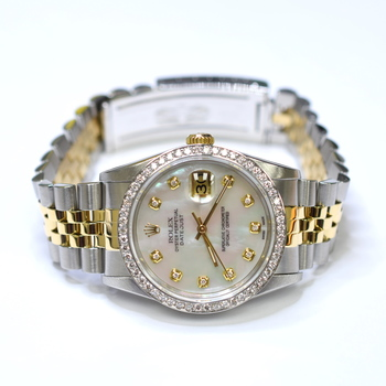 Rolex DateJust 36mm Stainless Steel and 18K Gold Custom Diamonds MOP Watch 16233