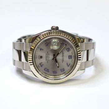 Rolex DateJust II 41mm Stainless Steel Gold Bezel Mens Watch 116334