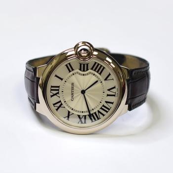 Cartier Ballon Bleu 46mm 18K White Gold Mens Watch on Leather Strap 3375