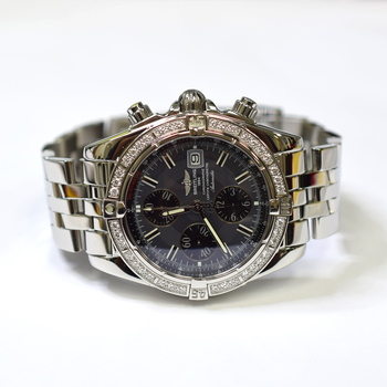 Breitling Chronomat Evolution 44mm Stainless Steel Fabric Diamond Watch A1335653