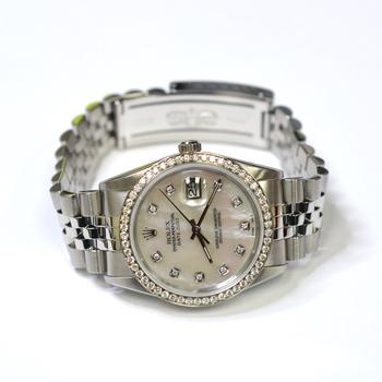 Rolex Datejust 36mm Stainless Steel Custom Diamonds MOP Dial Mens Watch 16220